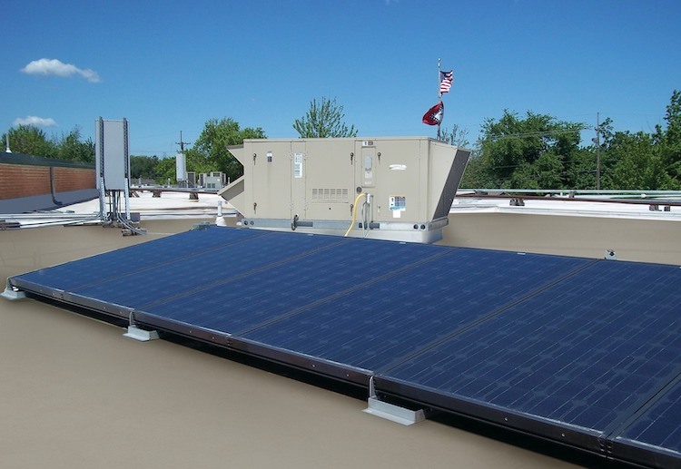 <p>Completed installation of Energence rooftop unit and solar panels</p>