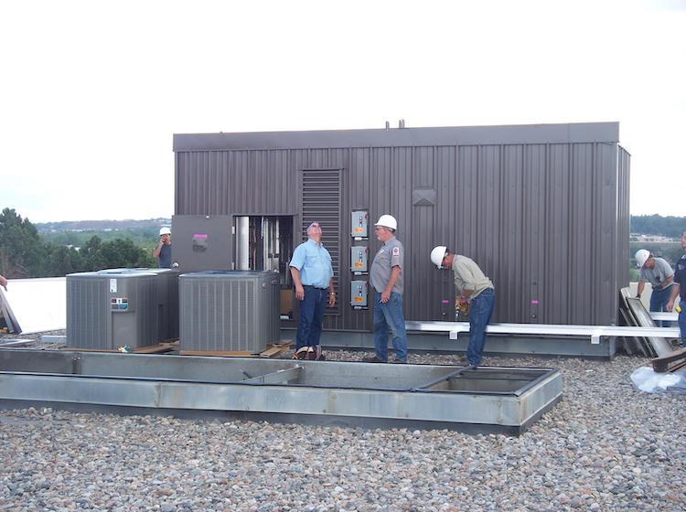 <p>Completing installation of HVAC equipment</p>